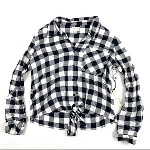 New Id23 Plaid Tie Front Shirt Blue White Small